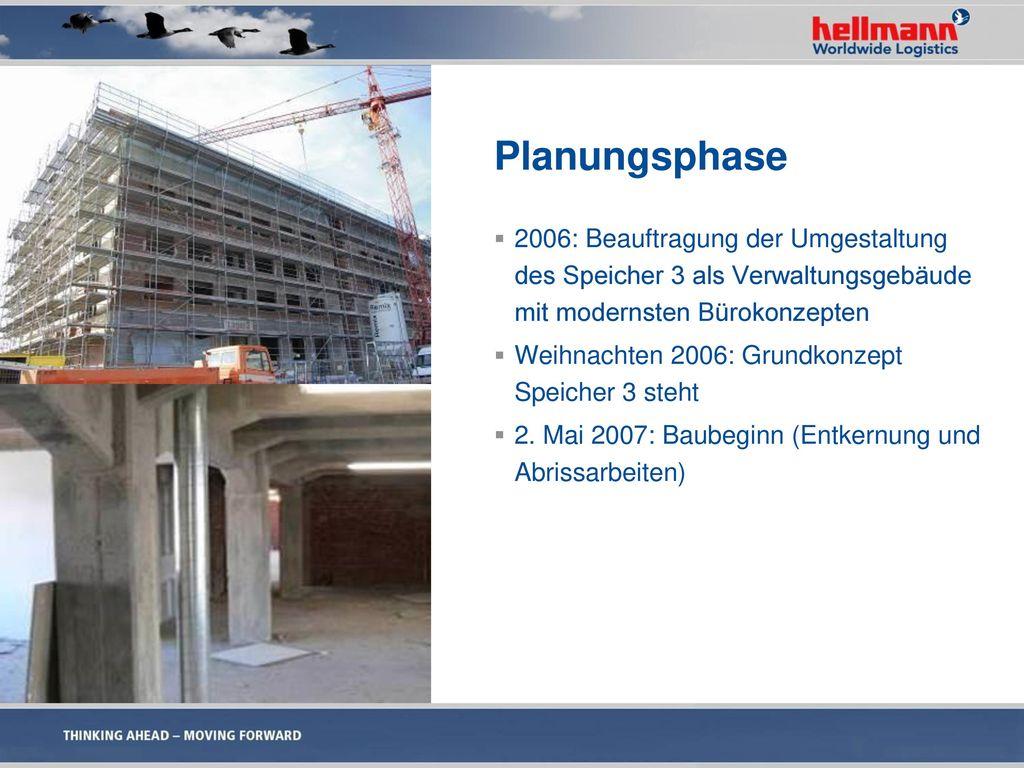 Planungsphase 2006: Beauftragung der Umgestaltung des Speicher 3 als Verwaltungsgebäude mit modernsten Bürokonzepten.