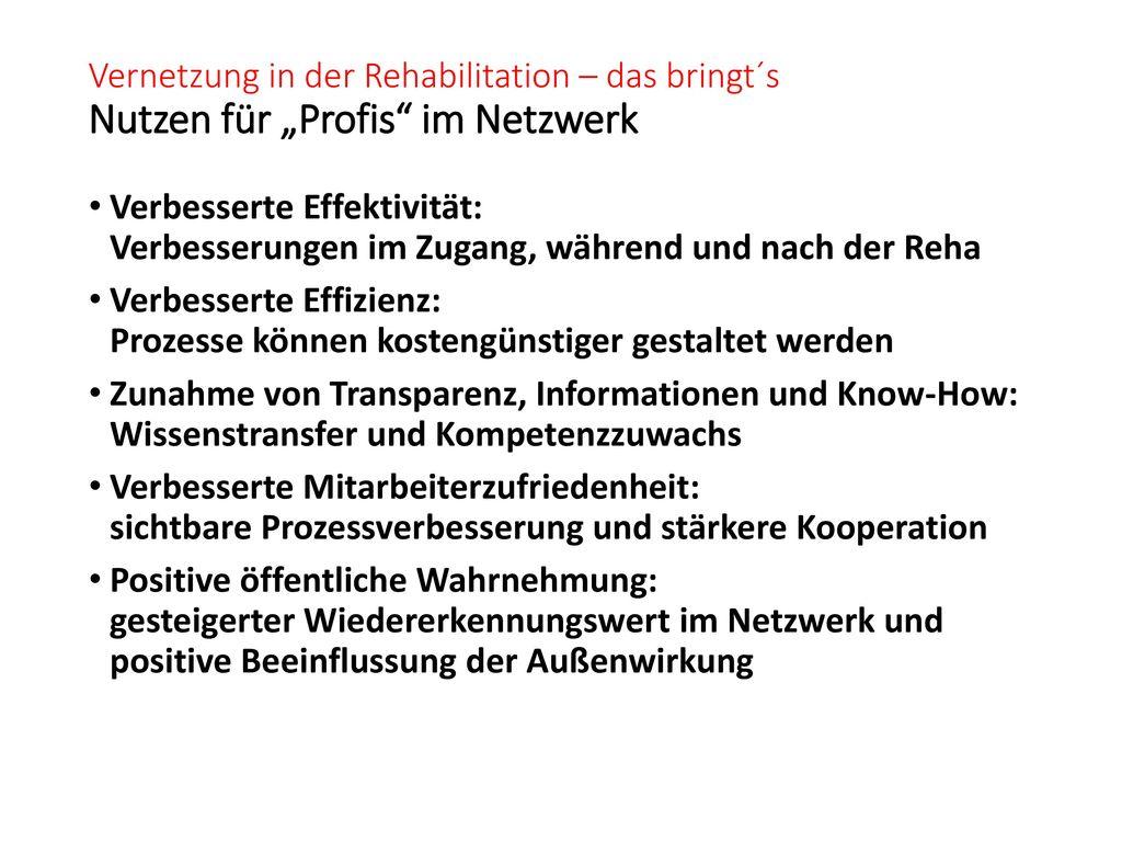 """Vernetzung in der Rehabilitation – das bringt´s Nutzen für """"Profis im Netzwerk"""