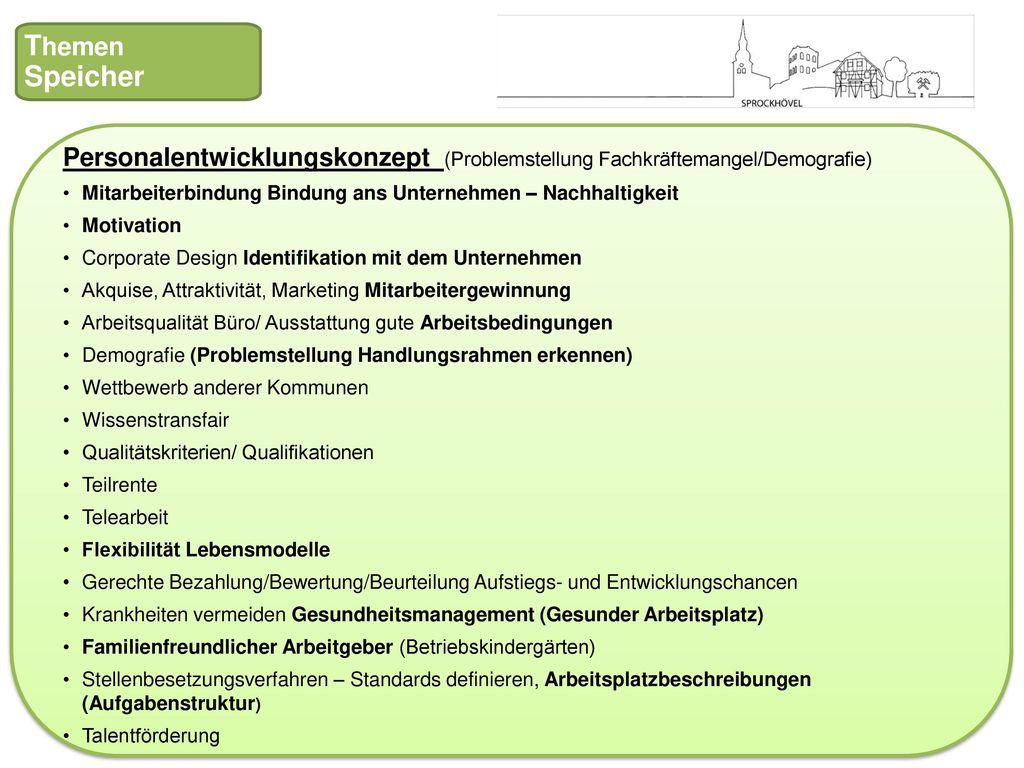 Themen Speicher. Personalentwicklungskonzept (Problemstellung Fachkräftemangel/Demografie)