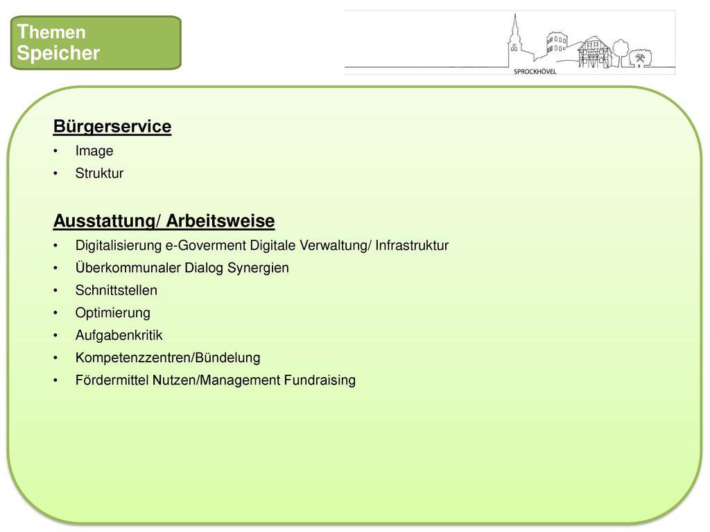 Themen Speicher Bürgerservice Ausstattung/ Arbeitsweise Image Struktur