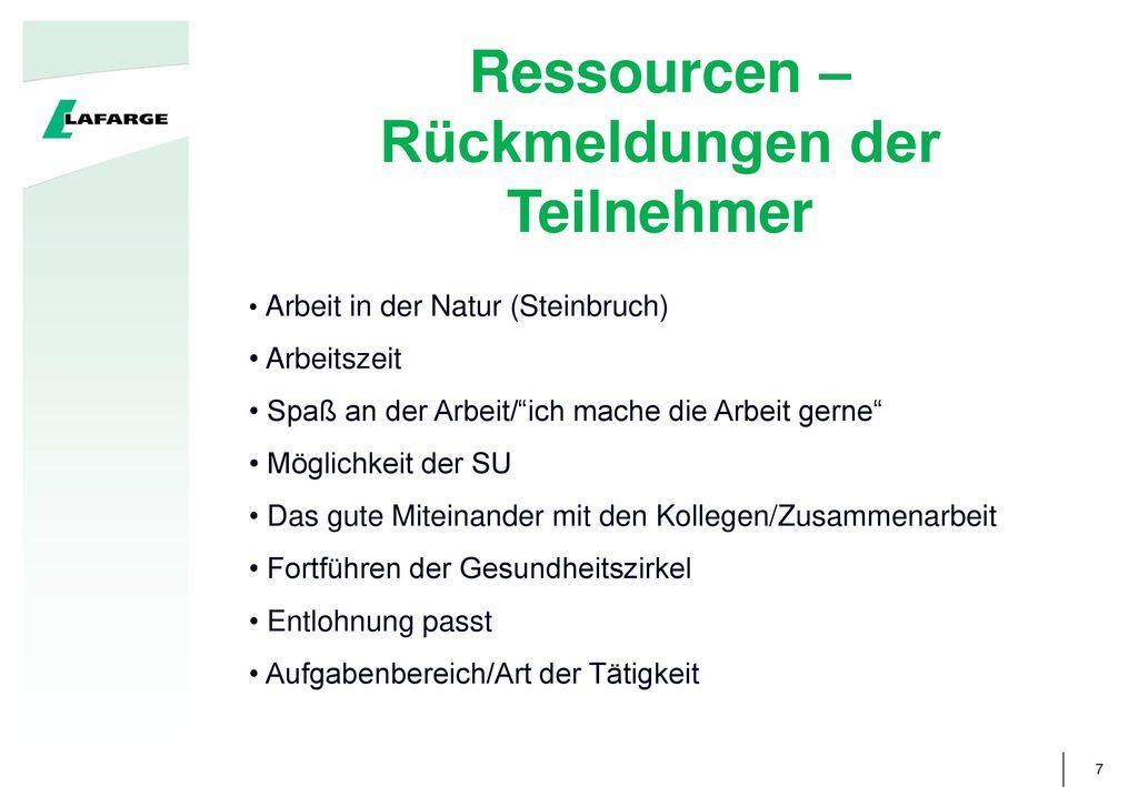 Ressourcen – Rückmeldungen der Teilnehmer