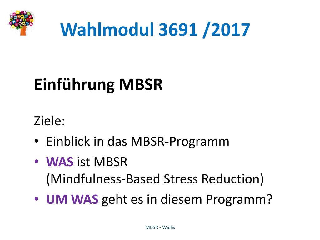 Wahlmodul 3691 /2017 Einführung MBSR Ziele: