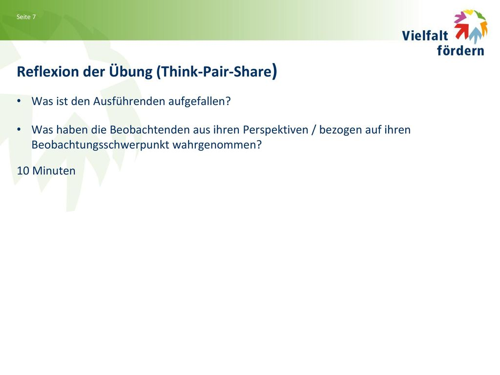 Reflexion der Übung (Think-Pair-Share)