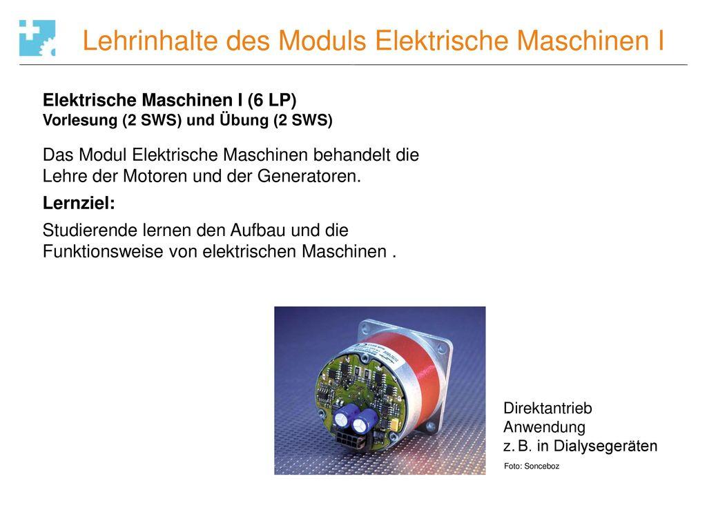 Lehrinhalte des Moduls Elektrische Maschinen I