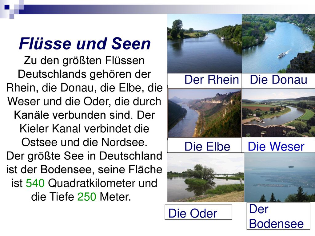 Flüsse und Seen Der Rhein Die Donau Die Elbe Die Weser Der Bodensee