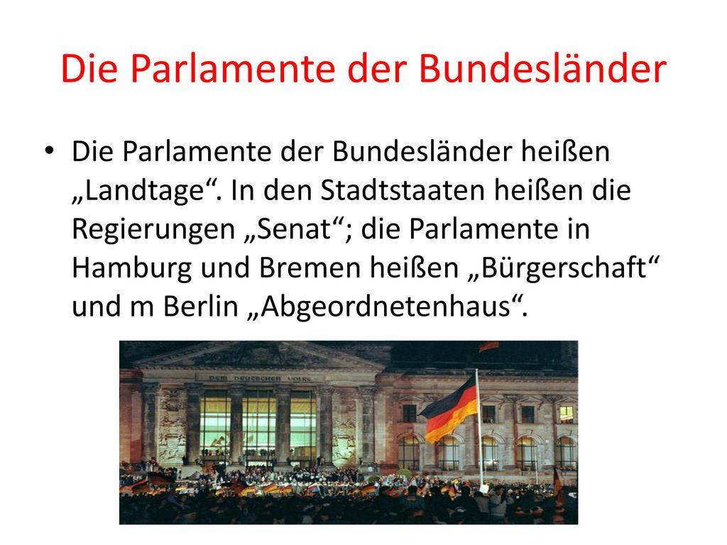 Die Parlamente der Bundesländer