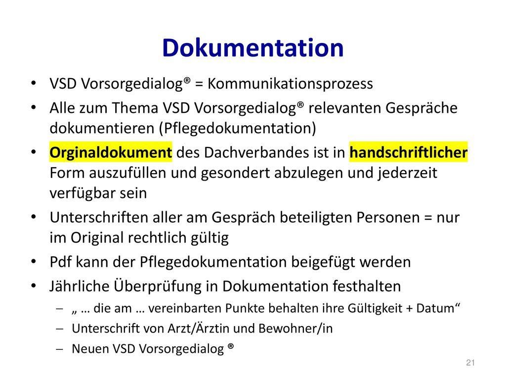 Dokumentation VSD Vorsorgedialog® = Kommunikationsprozess