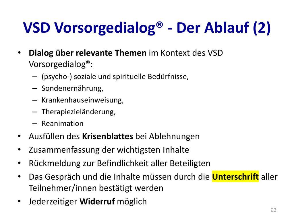 VSD Vorsorgedialog® - Der Ablauf (2)