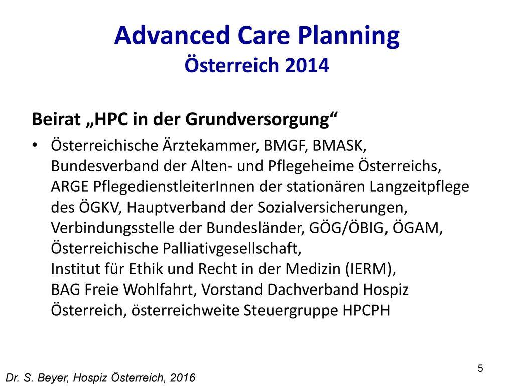 Advanced Care Planning Österreich 2014