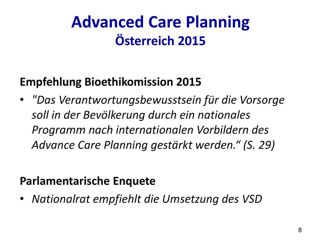 Advanced Care Planning Österreich 2015