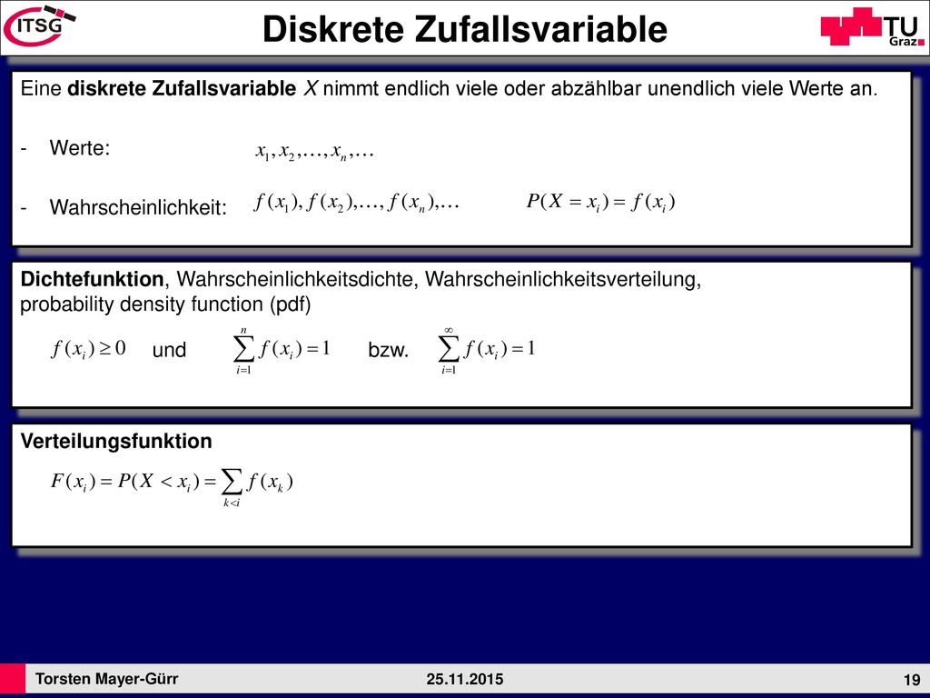 Diskrete Zufallsvariable
