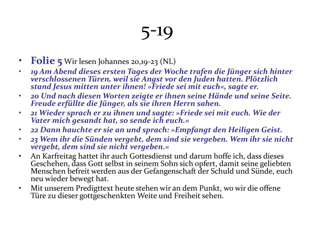 5-19 Folie 5 Wir lesen Johannes 20,19-23 (NL)
