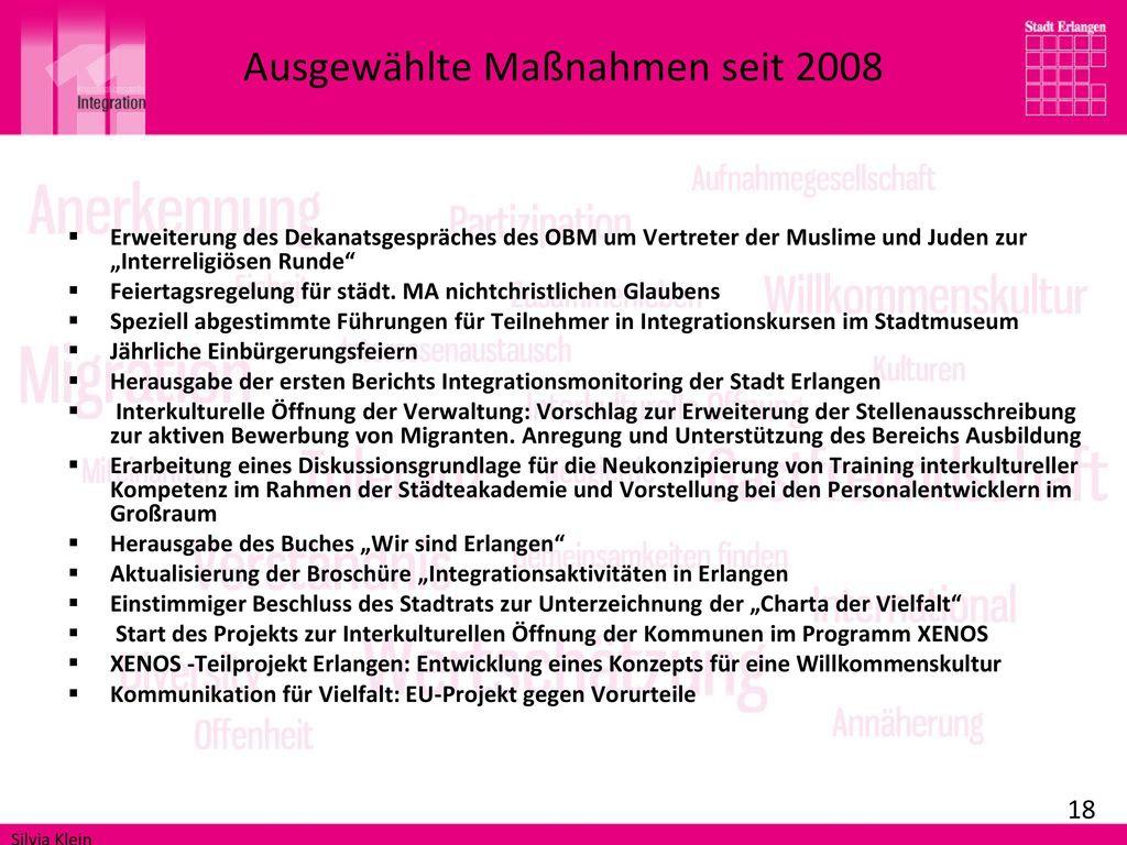 Ausgewählte Maßnahmen seit 2008