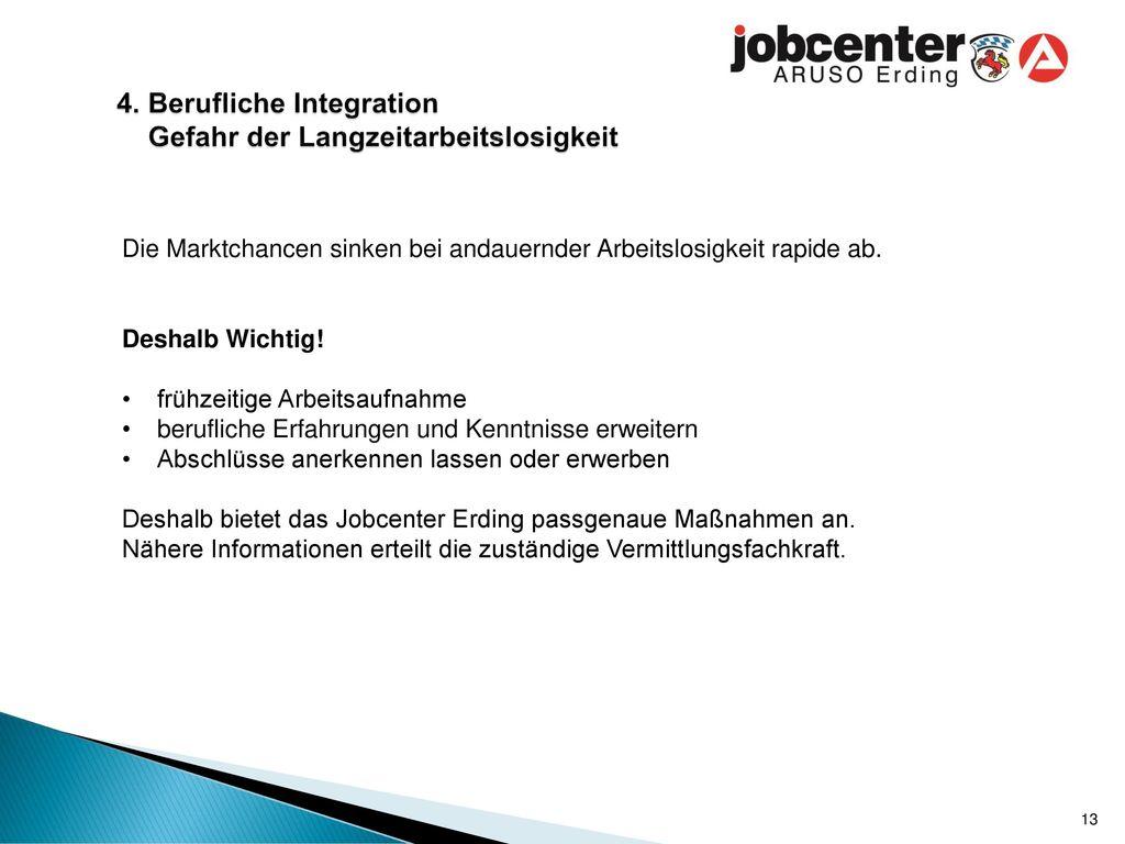 4. Berufliche Integration Gefahr der Langzeitarbeitslosigkeit