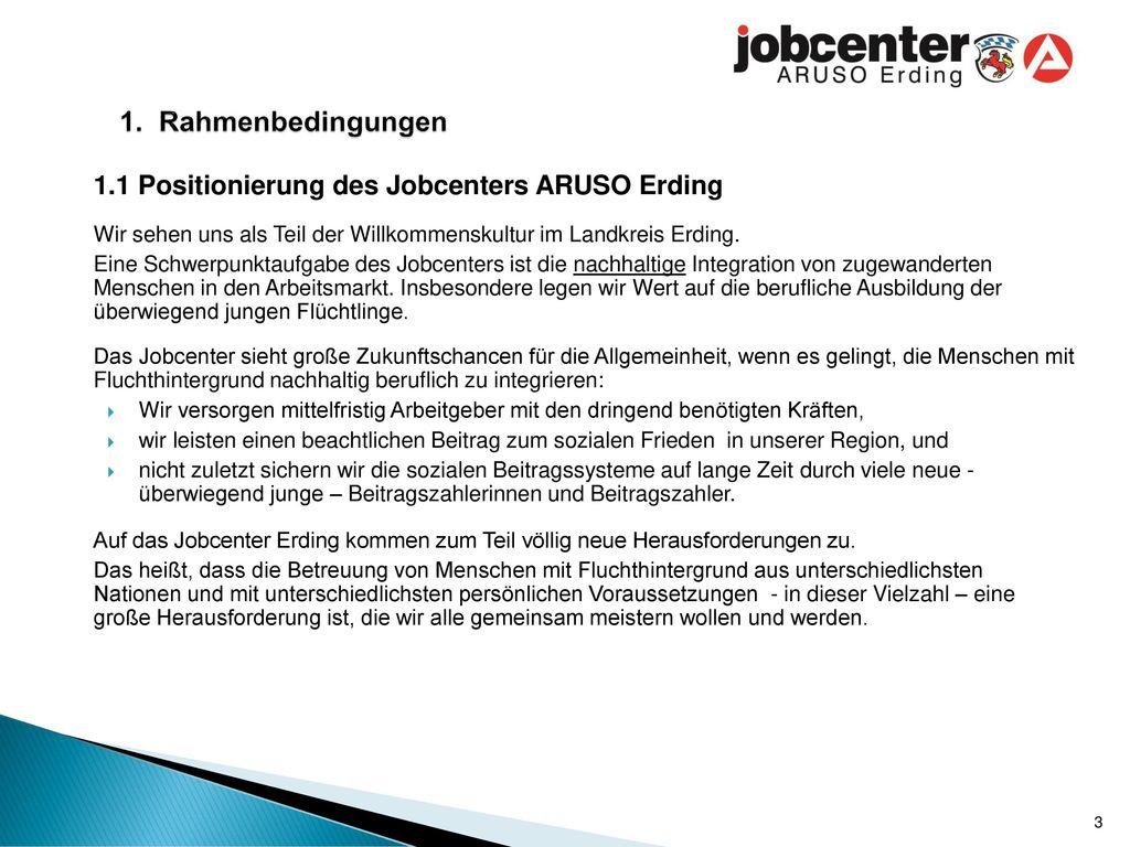 1. Rahmenbedingungen 1.1 Positionierung des Jobcenters ARUSO Erding