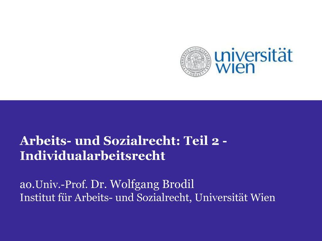 Arbeits- und Sozialrecht: Teil 2 - Individualarbeitsrecht