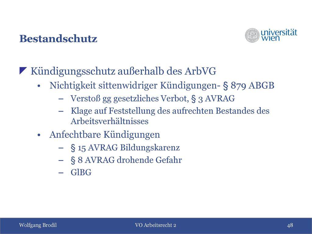 Kündigungsschutz außerhalb des ArbVG