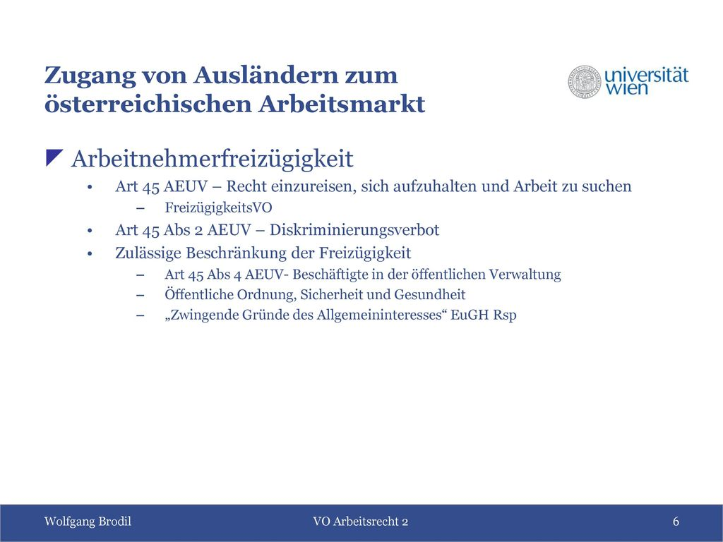 Zugang von Ausländern zum österreichischen Arbeitsmarkt