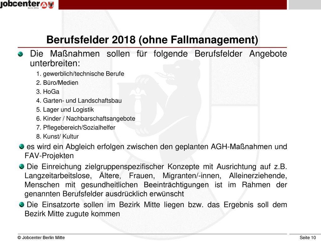 Berufsfelder 2018 (ohne Fallmanagement)