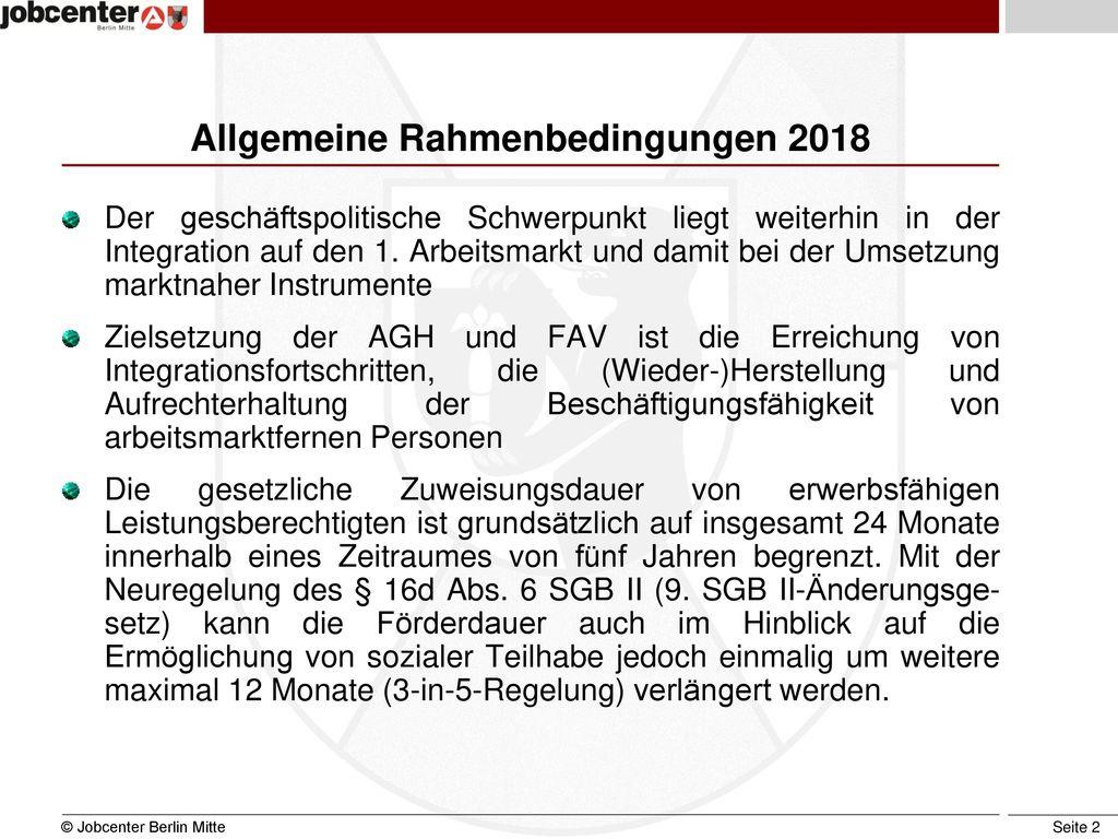Allgemeine Rahmenbedingungen 2018