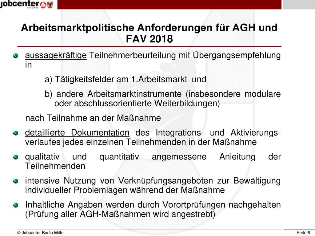 Arbeitsmarktpolitische Anforderungen für AGH und FAV 2018