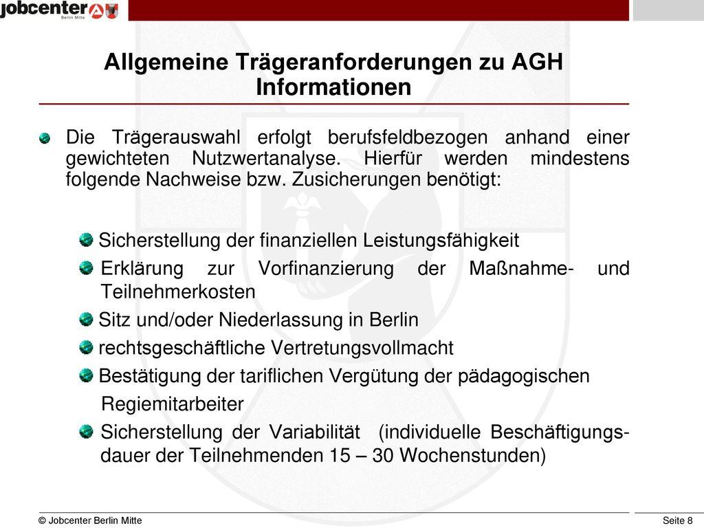 Allgemeine Trägeranforderungen zu AGH Informationen
