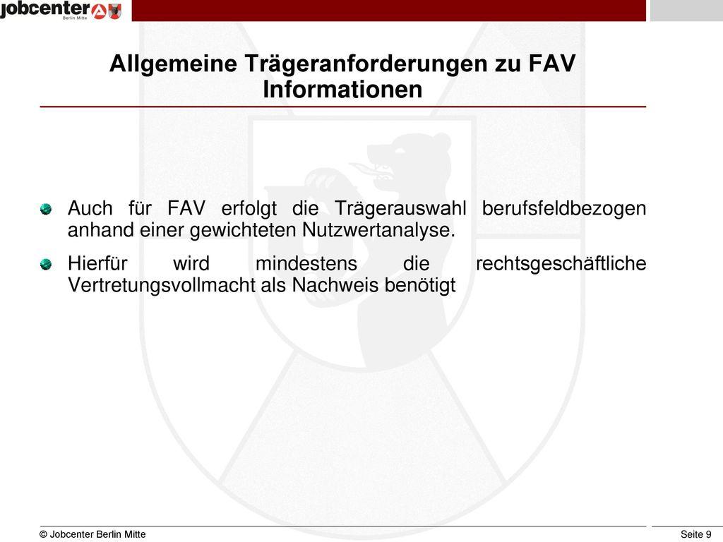 Allgemeine Trägeranforderungen zu FAV Informationen