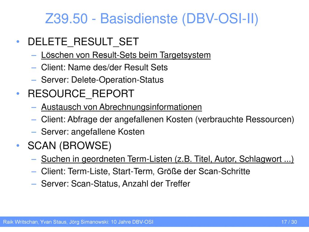 Z39.50 - Basisdienste (DBV-OSI-II)
