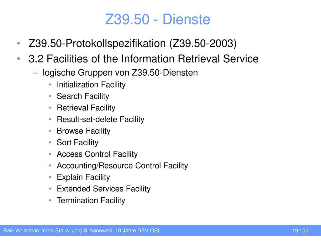 Z39.50 - Dienste Z39.50-Protokollspezifikation (Z39.50-2003)