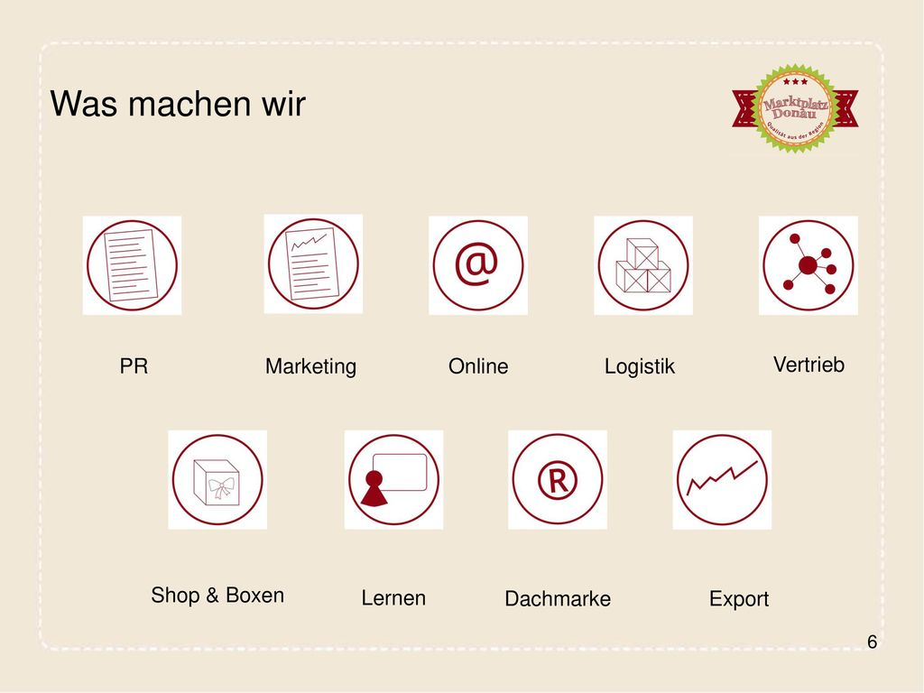 Was machen wir PR Marketing Online Logistik Vertrieb Shop & Boxen