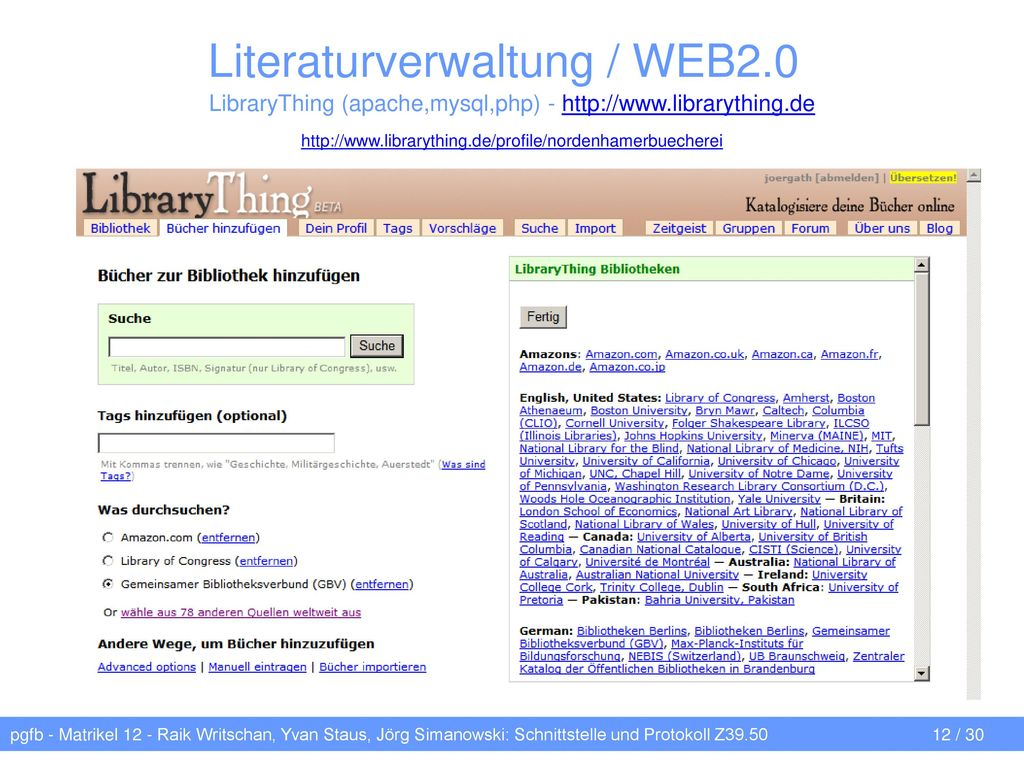 Literaturverwaltung / WEB2.0