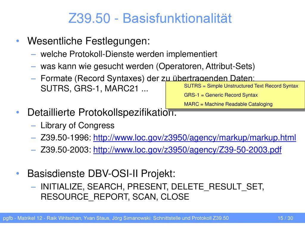 Z39.50 - Basisfunktionalität