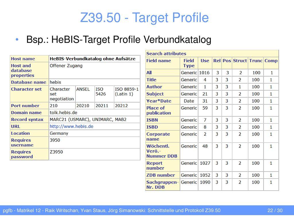 Z39.50 - Target Profile Bsp.: HeBIS-Target Profile Verbundkatalog