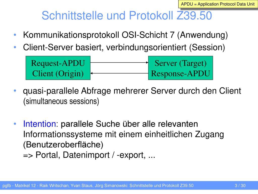 Schnittstelle und Protokoll Z39.50