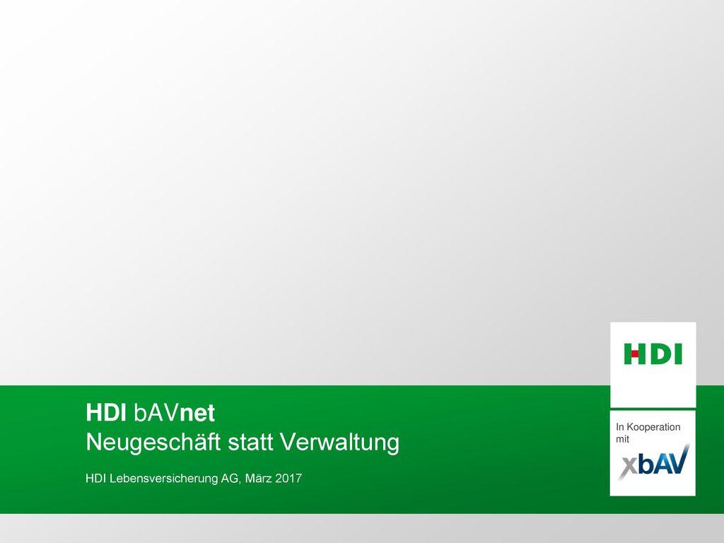 HDI bAVnet Neugeschäft statt Verwaltung