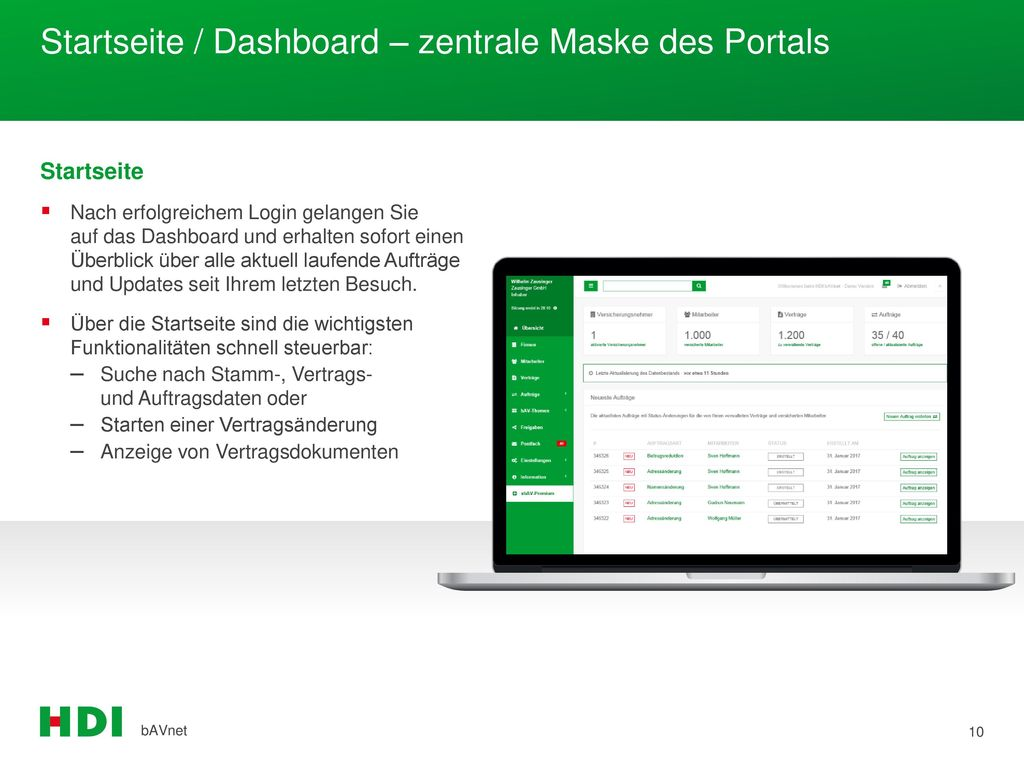 Startseite / Dashboard – zentrale Maske des Portals