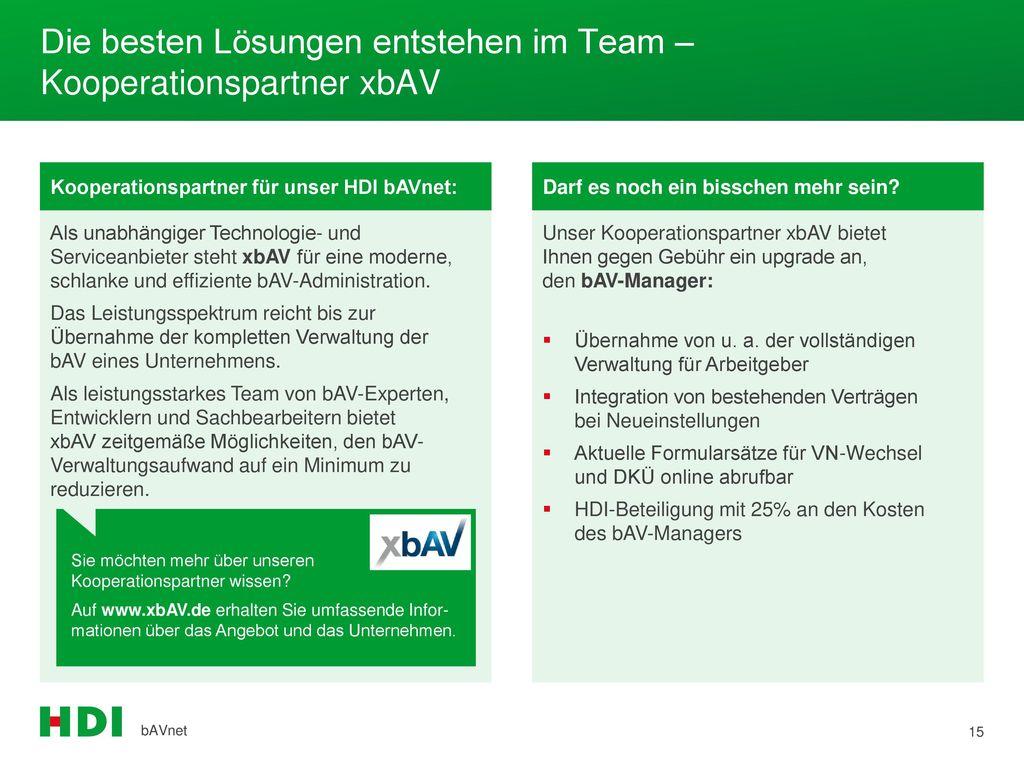Die besten Lösungen entstehen im Team – Kooperationspartner xbAV