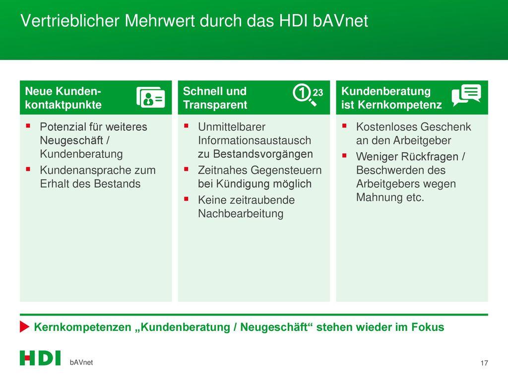 Vertrieblicher Mehrwert durch das HDI bAVnet