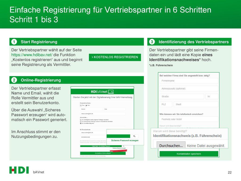 Einfache Registrierung für Vertriebspartner in 6 Schritten Schritt 1 bis 3