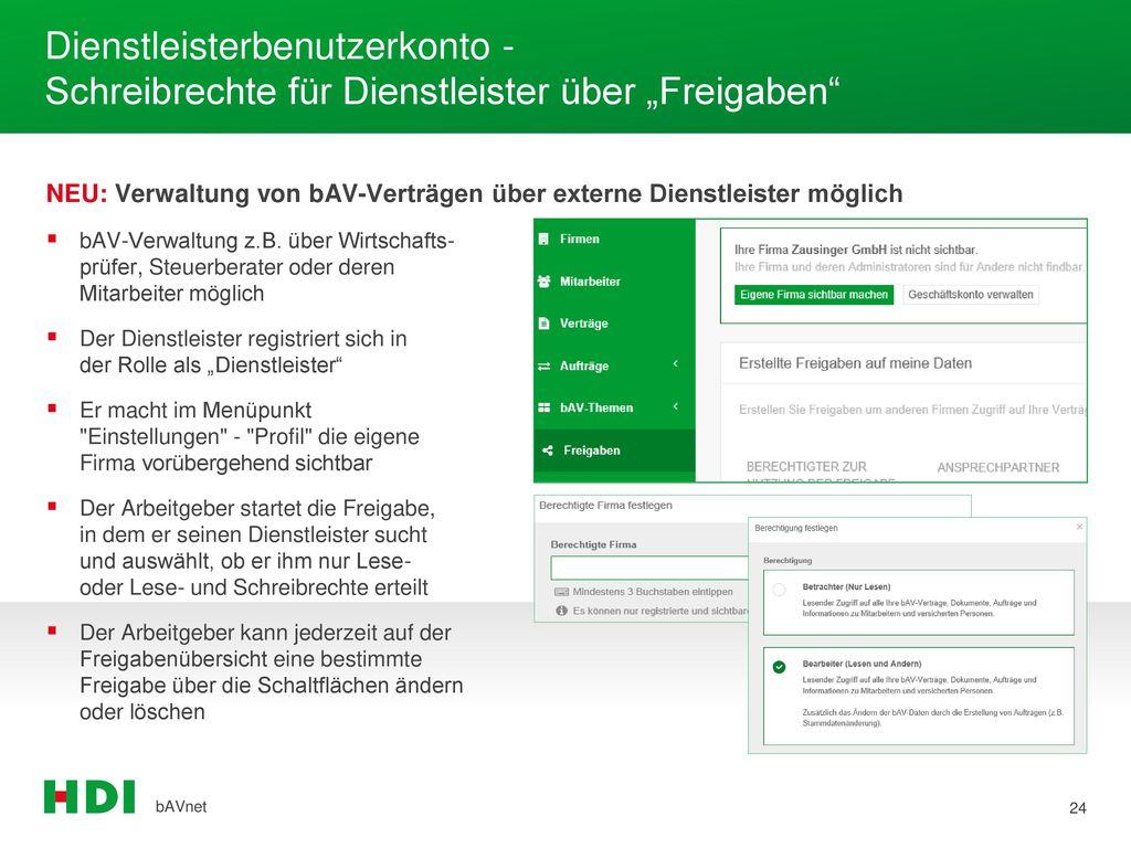 """Dienstleisterbenutzerkonto - Schreibrechte für Dienstleister über """"Freigaben"""