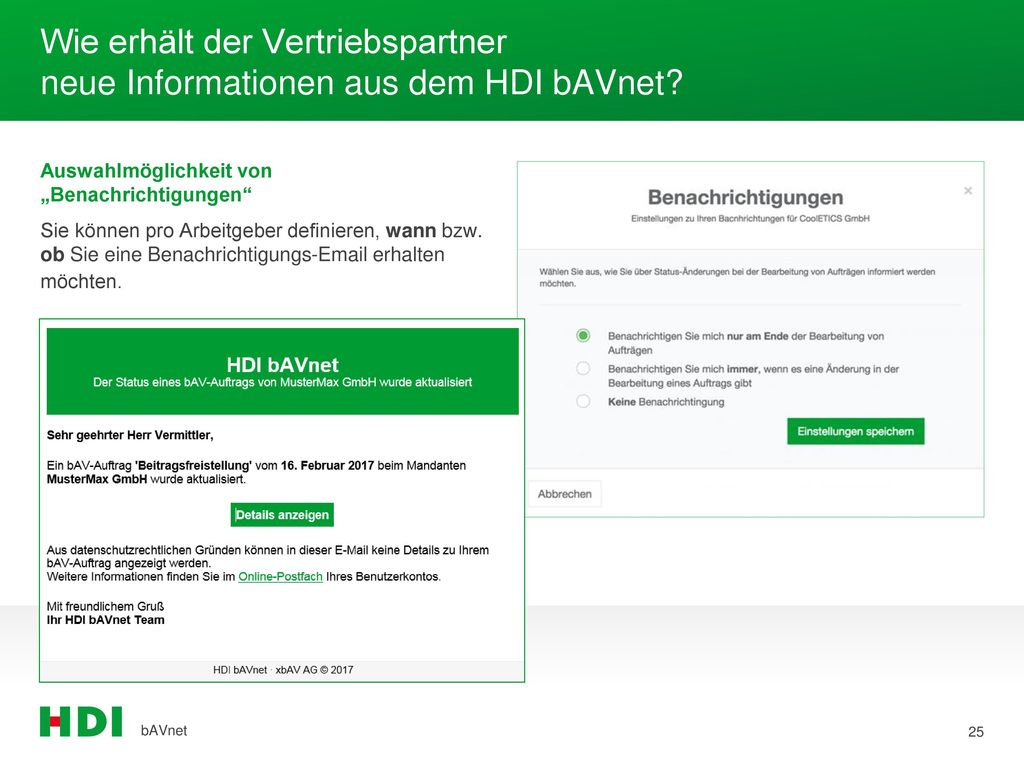 Wie erhält der Vertriebspartner neue Informationen aus dem HDI bAVnet