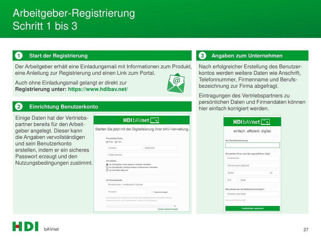 Arbeitgeber-Registrierung Schritt 1 bis 3