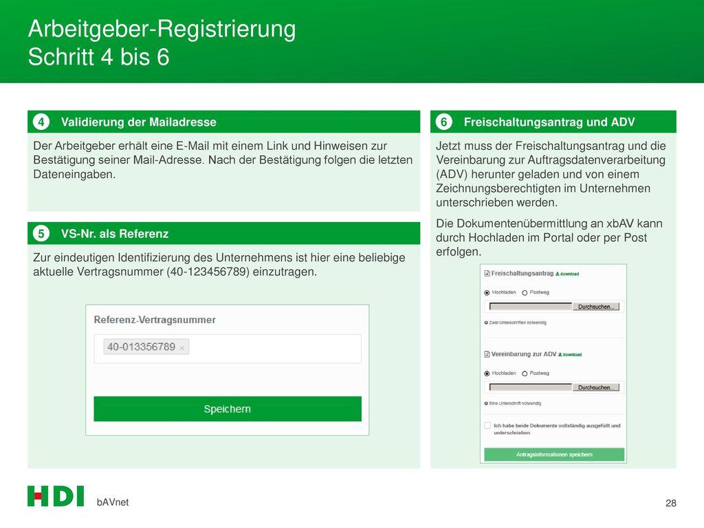 Arbeitgeber-Registrierung Schritt 4 bis 6