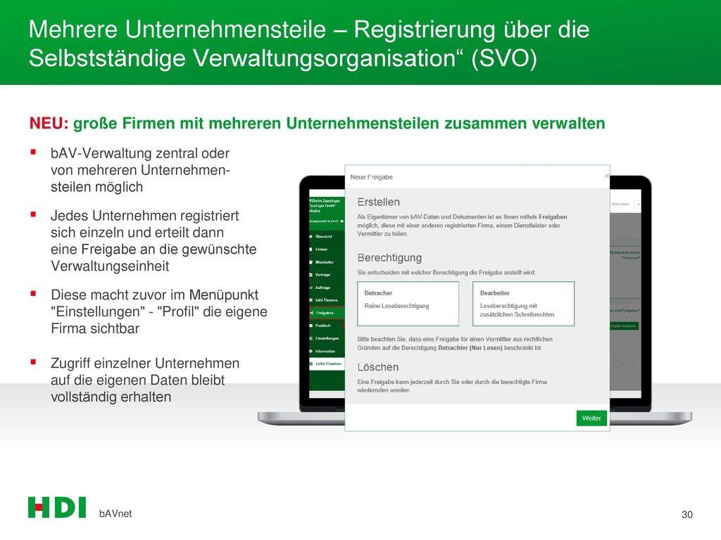 Mehrere Unternehmensteile – Registrierung über die Selbstständige Verwaltungsorganisation (SVO)