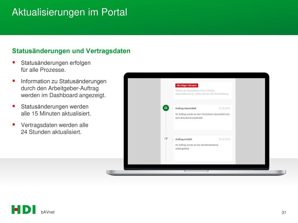 Aktualisierungen im Portal