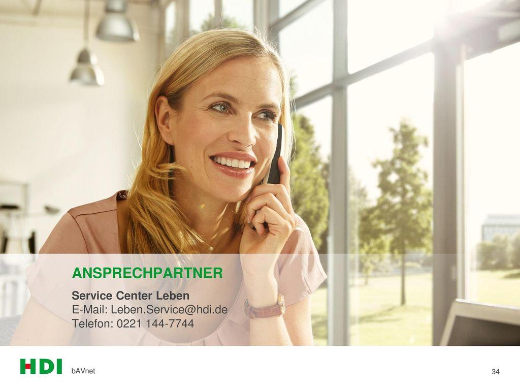 ANSPRECHPARTNER Service Center Leben E-Mail: Leben.Service@hdi.de Telefon: 0221 144-7744 bAVnet