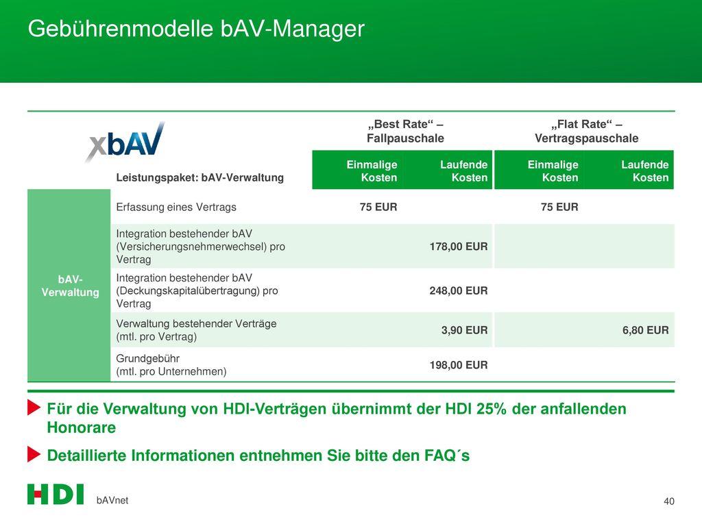 Gebührenmodelle bAV-Manager