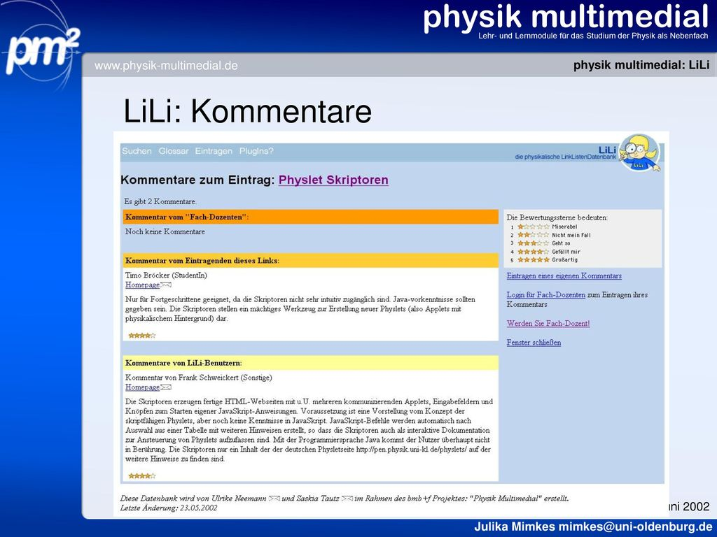 physik multimedial LiLi: Kommentare www.physik-multimedial.de