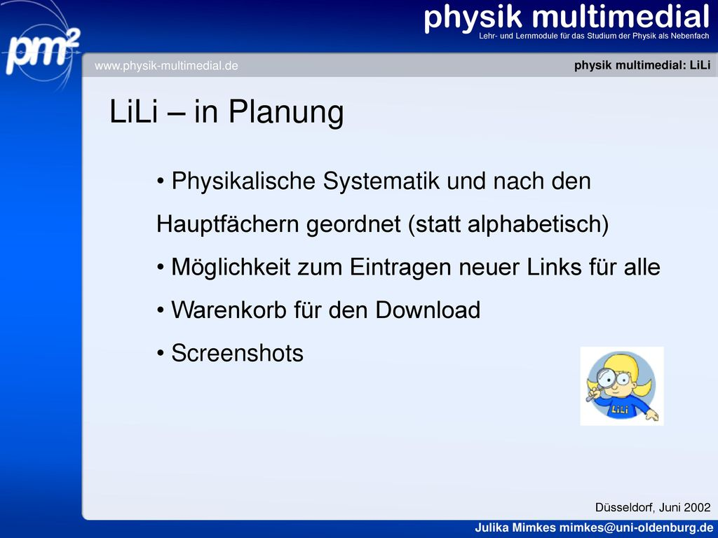physik multimedial LiLi – in Planung