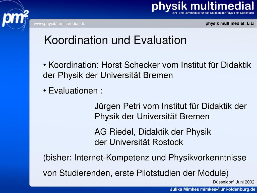 Koordination und Evaluation